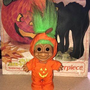Vintage Holiday - Vintage pumpkin kid trick-or-treat Russ troll